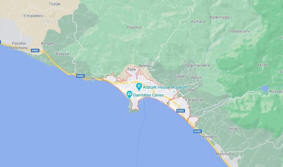 Алания на карте - Где находится Алания?