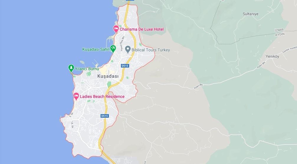 Кушадасы на карте - Где находится Кушадасы?