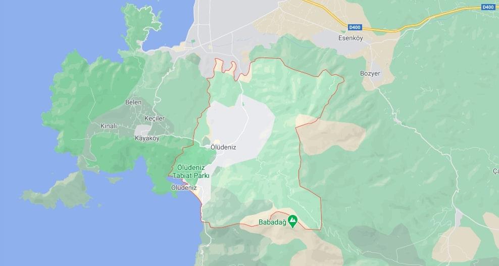 Олюдениз на карте - Где находится Олюдениз?